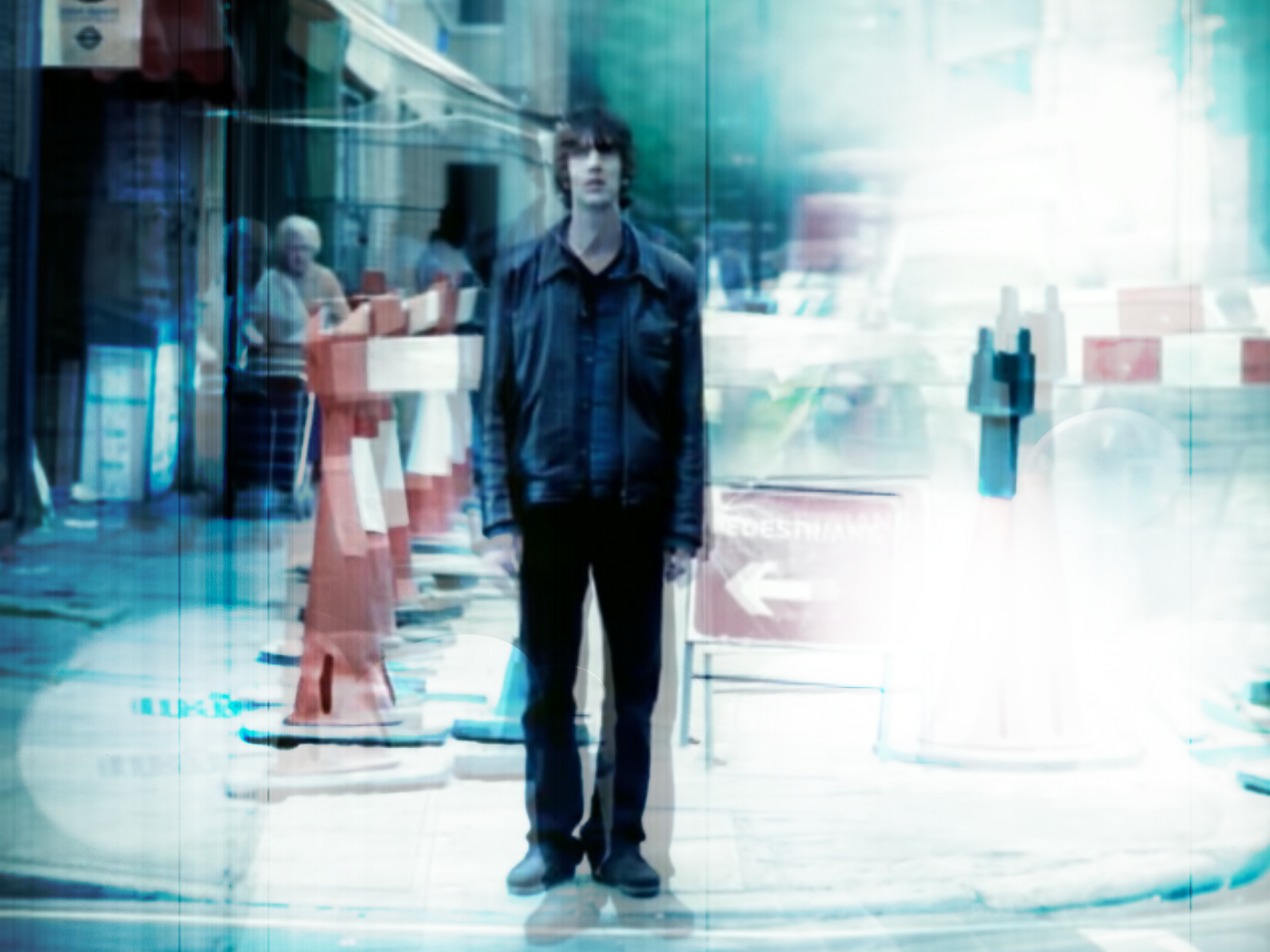 A stylized still from the music video, Bittersweet Symphony, by The Verve