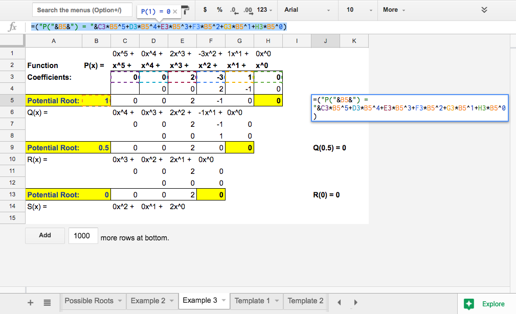 Spreadsheet Math: Synthetic Division Calculator and Video