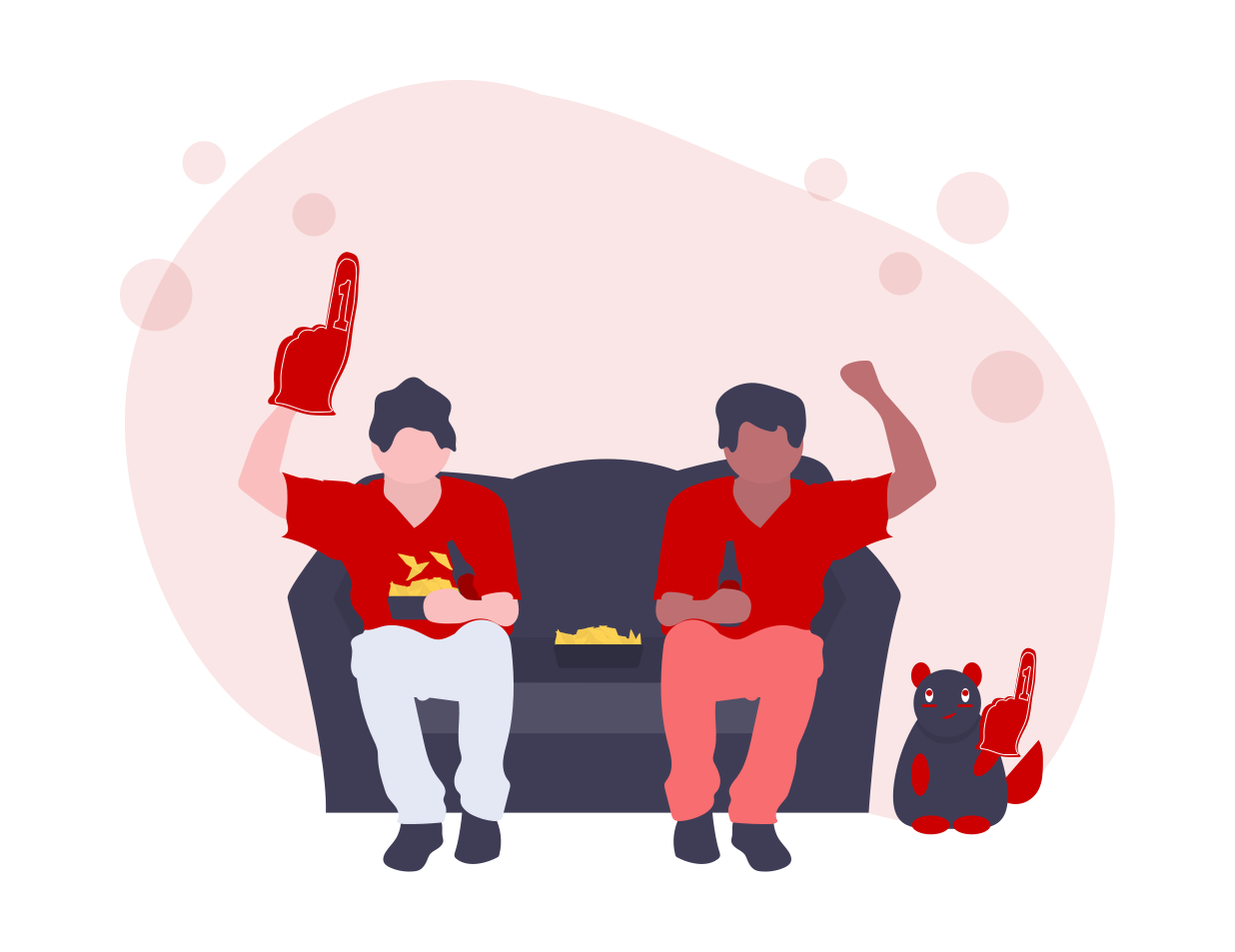 two people sitting on sofa, one with foam finger, one raising arm in fist pump, enjoying snacks and drinks