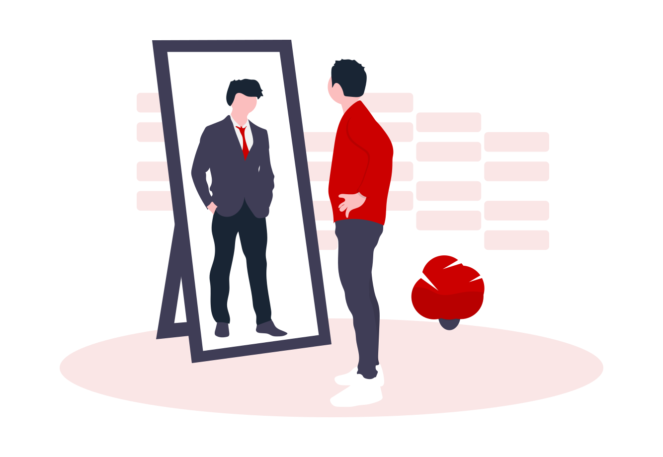 Person in red top and jeans, looking into a mirror and seeing themselves in a business suit