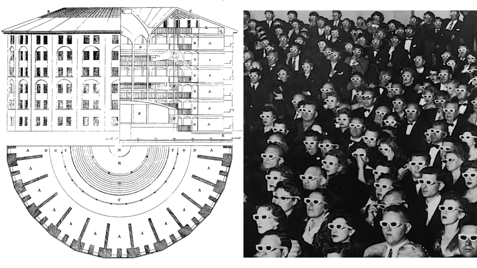 Blueprint of Jeremy Bentham's panopticon juxtaposed with patrons of a 3D movie.