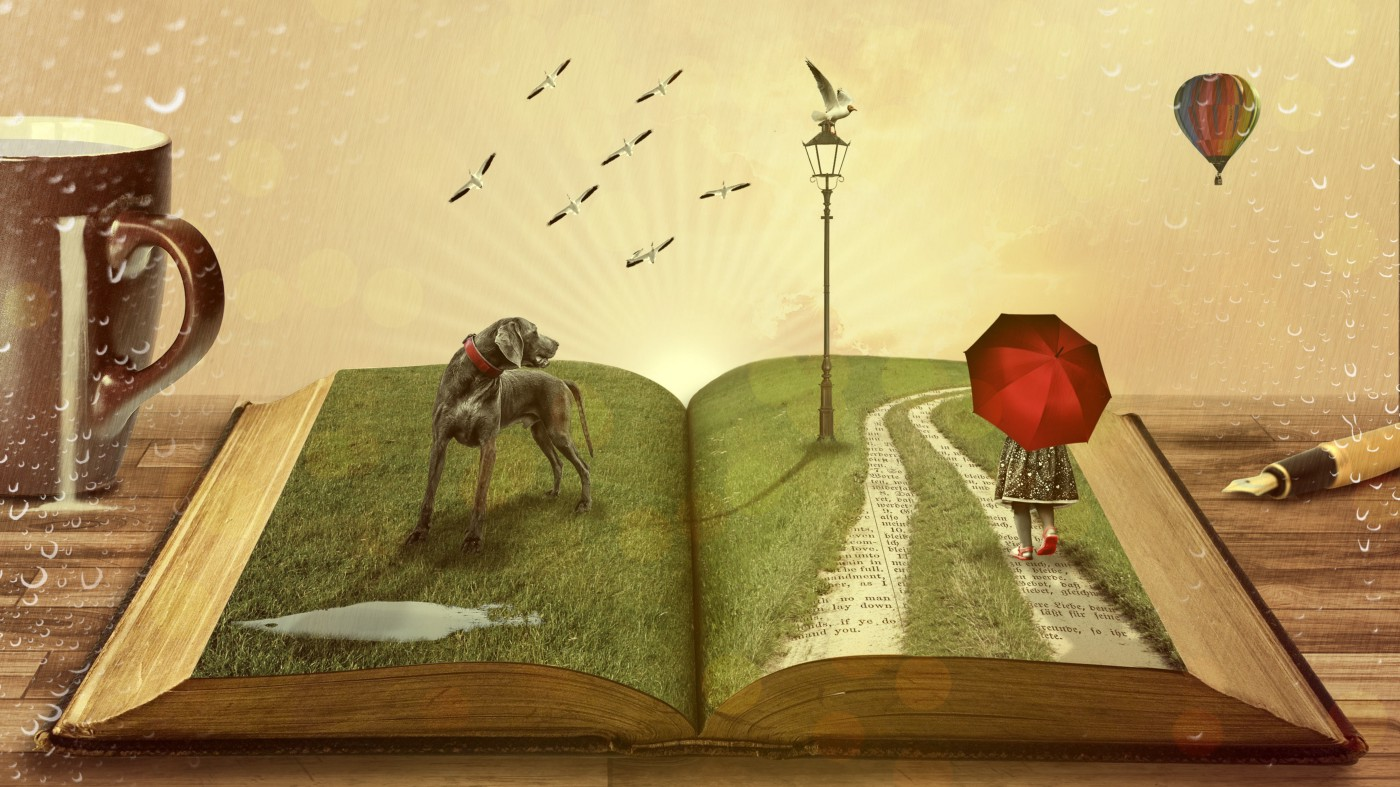 Surreal image of open book showing dog on lawn, girl walking with red umbrella on path paved with words, light post with bird