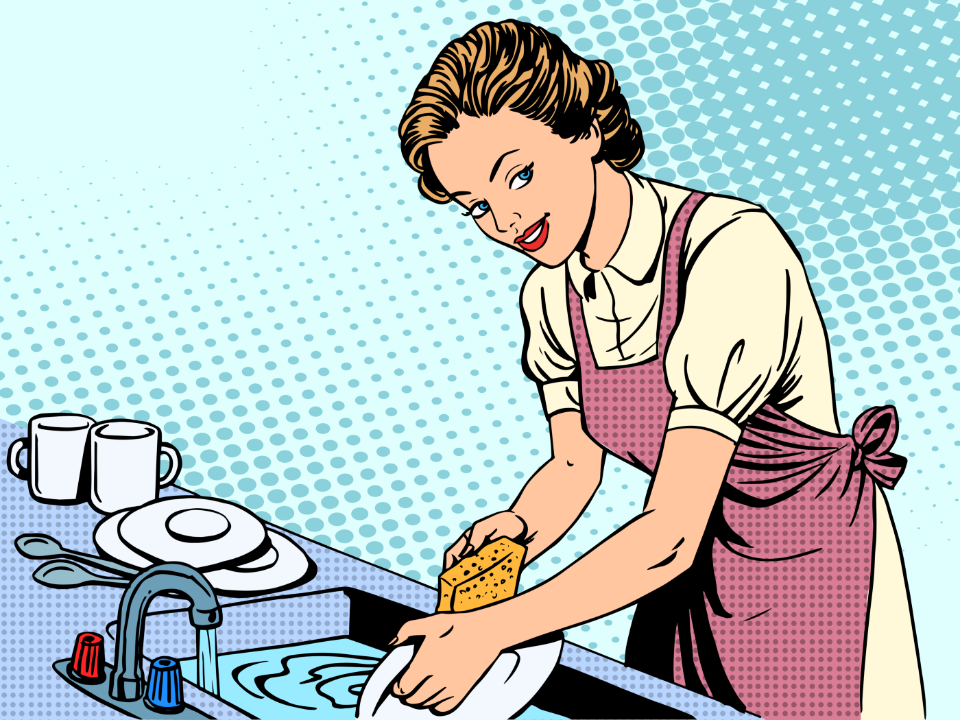 Illustration of the typical 1950's homemaker doing household chores