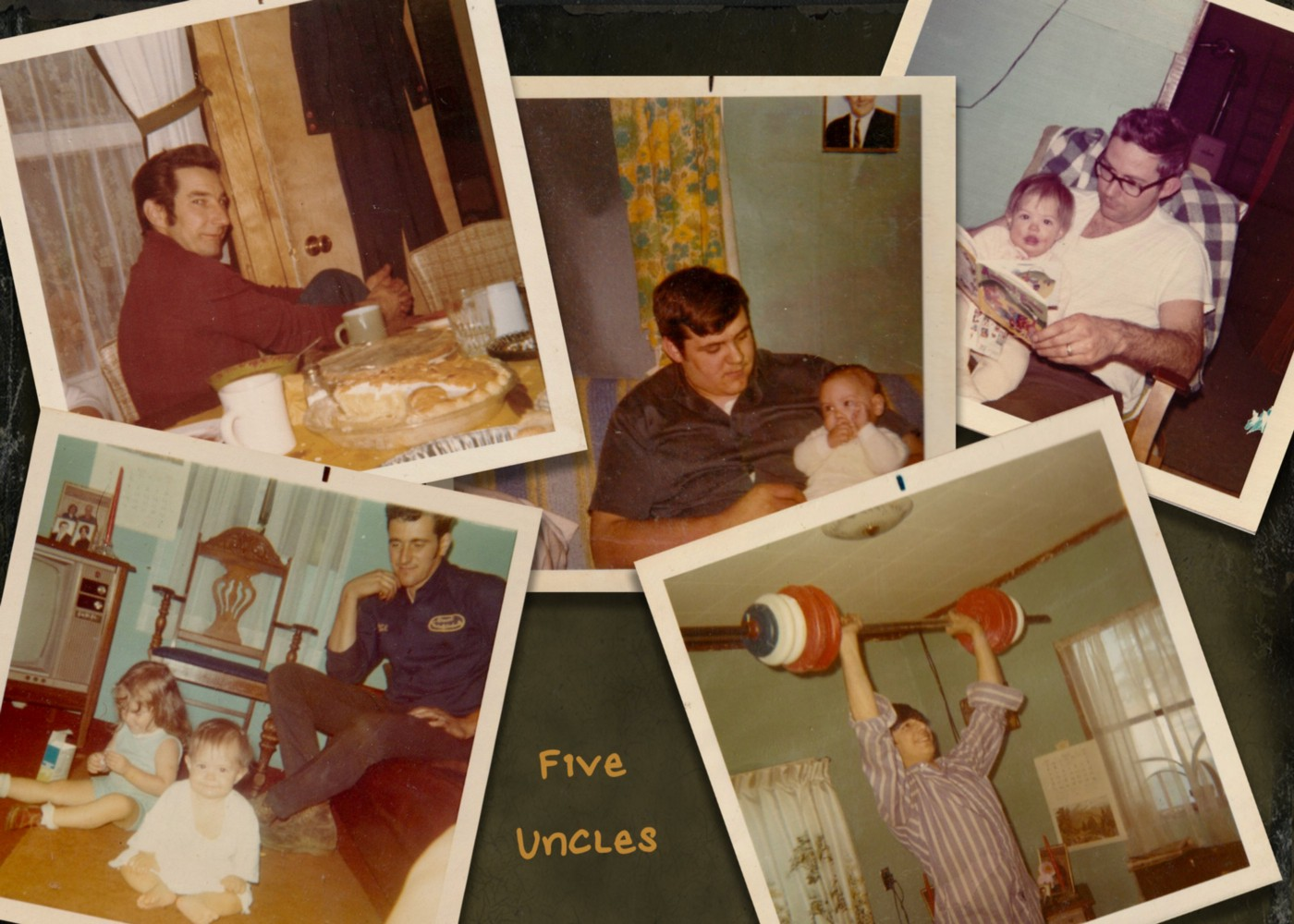 5 snapshots of young men in the 1970s, three with the author as a baby