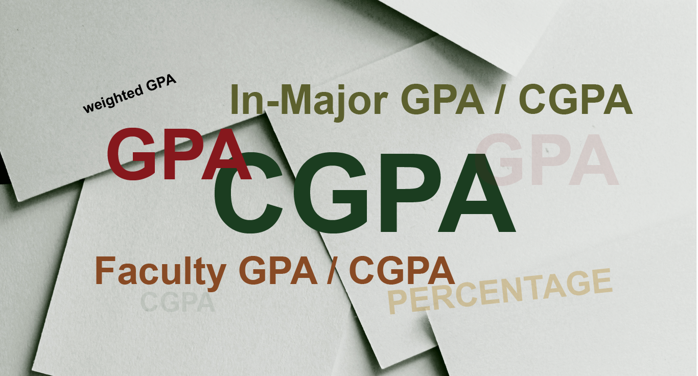 What is the difference between GPA, CGPA , in-Major GPA, and Faculty