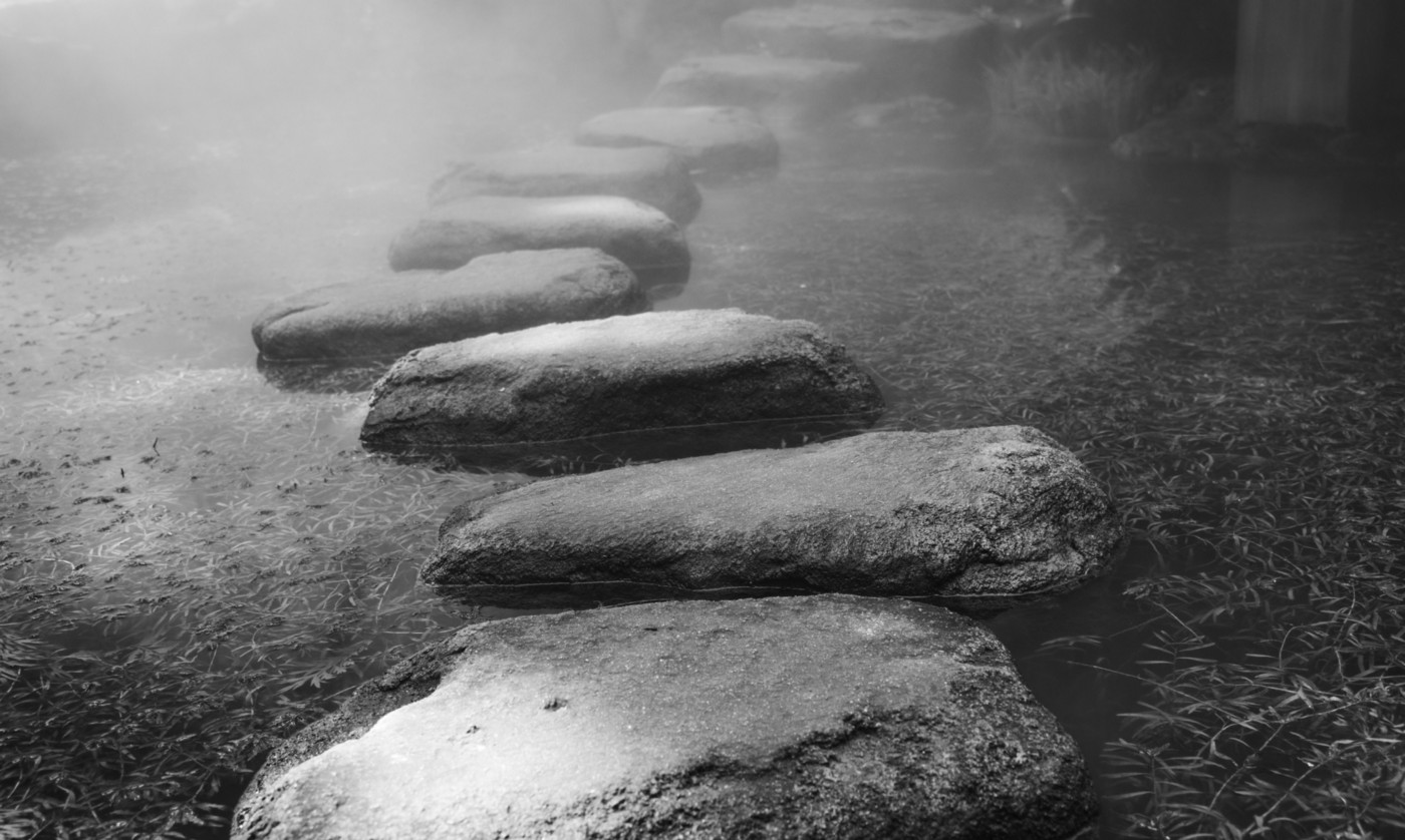 Black and white stepping stones in a river.