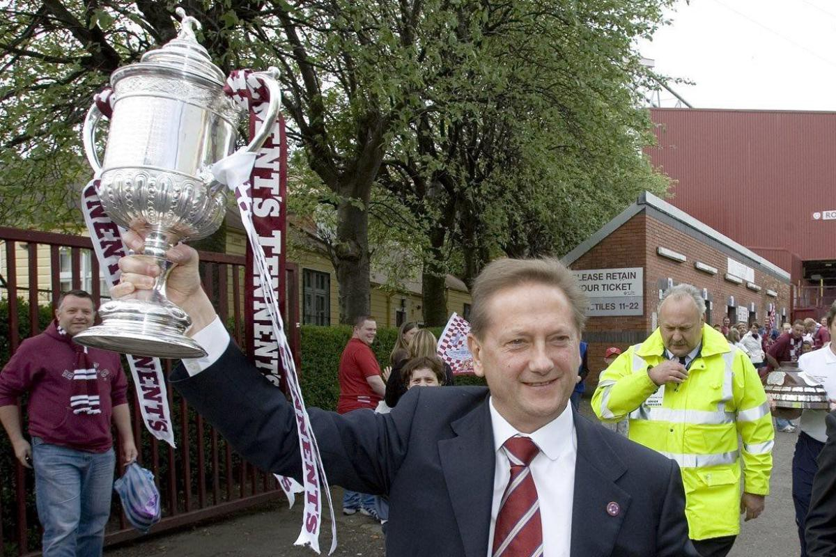 Vladimir Romanov, former owner of Hearts, with the Scottish Cup
