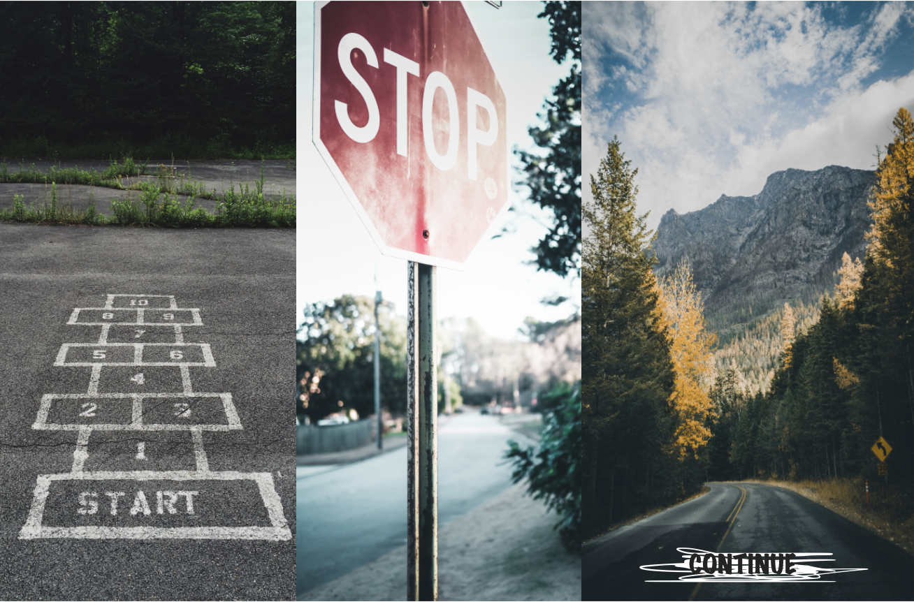 A picture showing start, stop, continue signs as per one kind of a Retrospective.