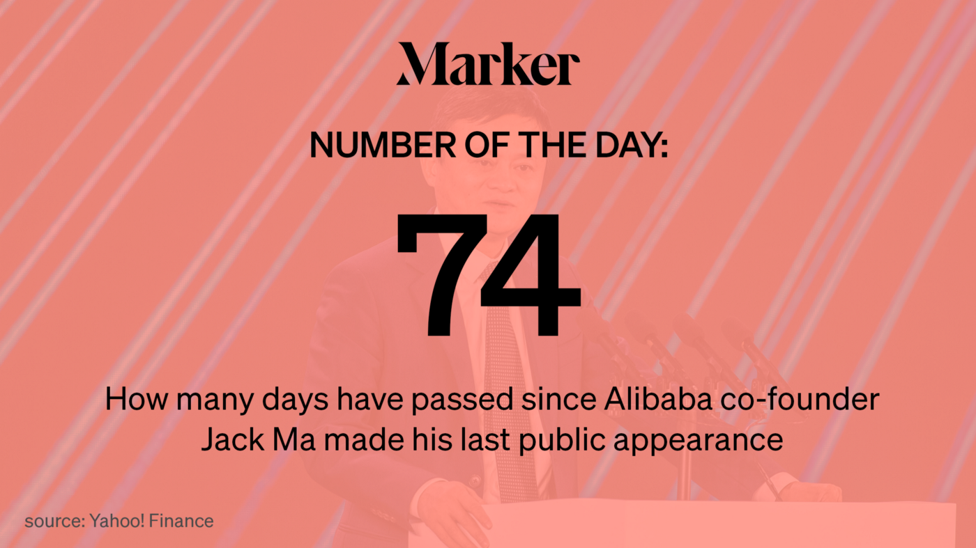 Graphic asset for Marker # of Day—74: That's how long it's been since Chinese billionaire Jack Ma was last seen in public.
