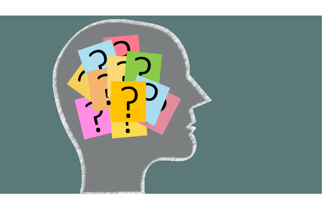 Outline drawing of a person's head, with question marks on post it notes clustered inside the head
