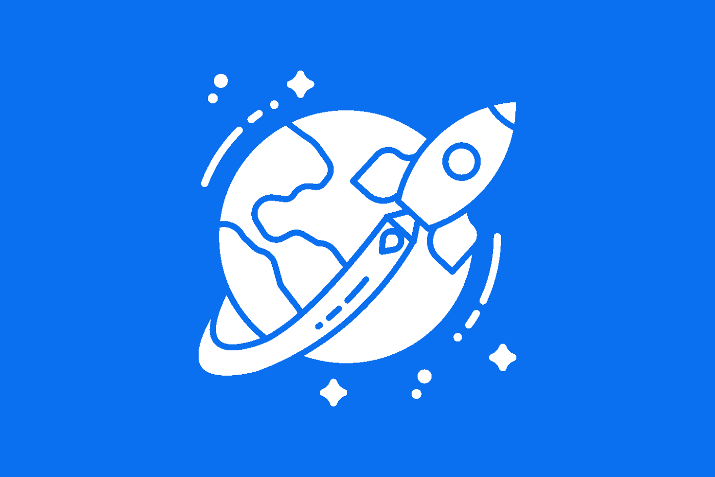 An illustration of a rocket circling around the Earth.