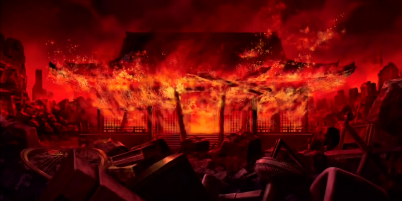 Mt. Hiei's Enryaku-ji temple complex in Kyoto burns from Oda Nobunaga's attack.