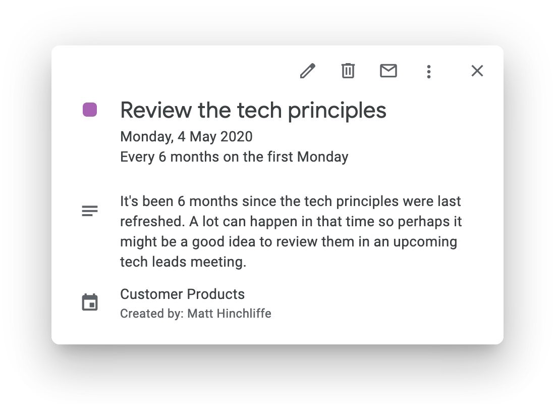 """A calendar invite with the title """"Review the tech principles"""" dated May 2020"""