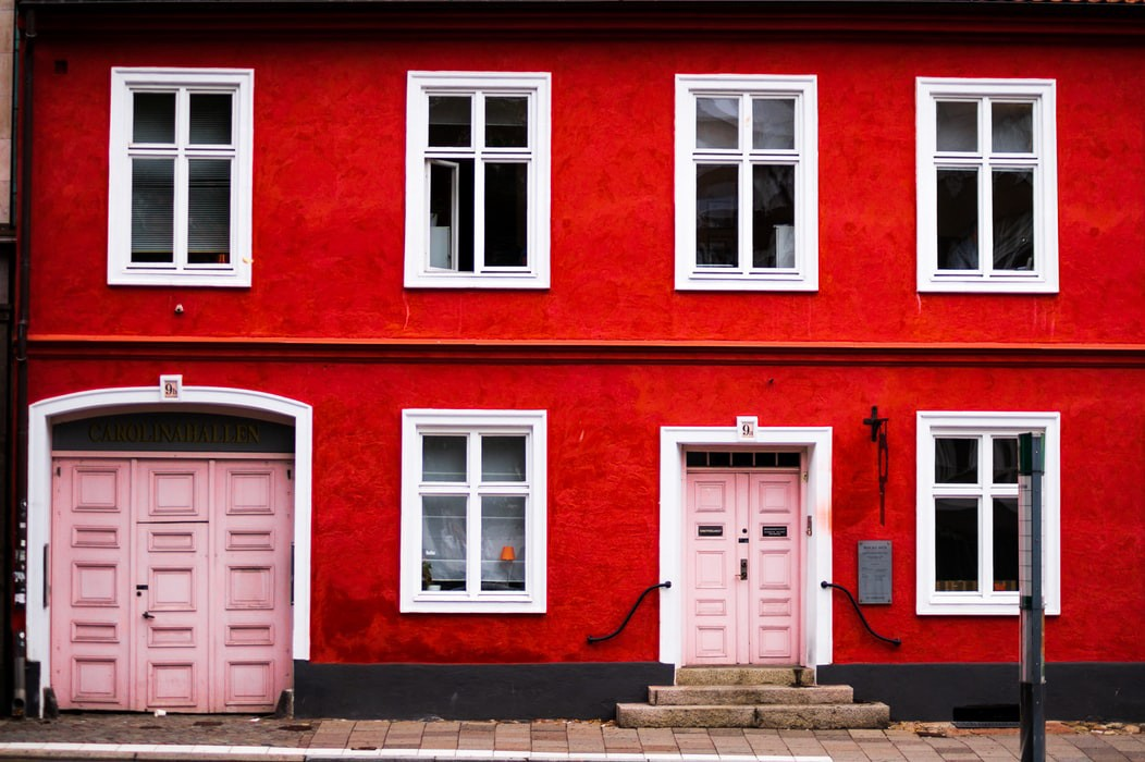A red Scandinavian house in Malmö, Sweden