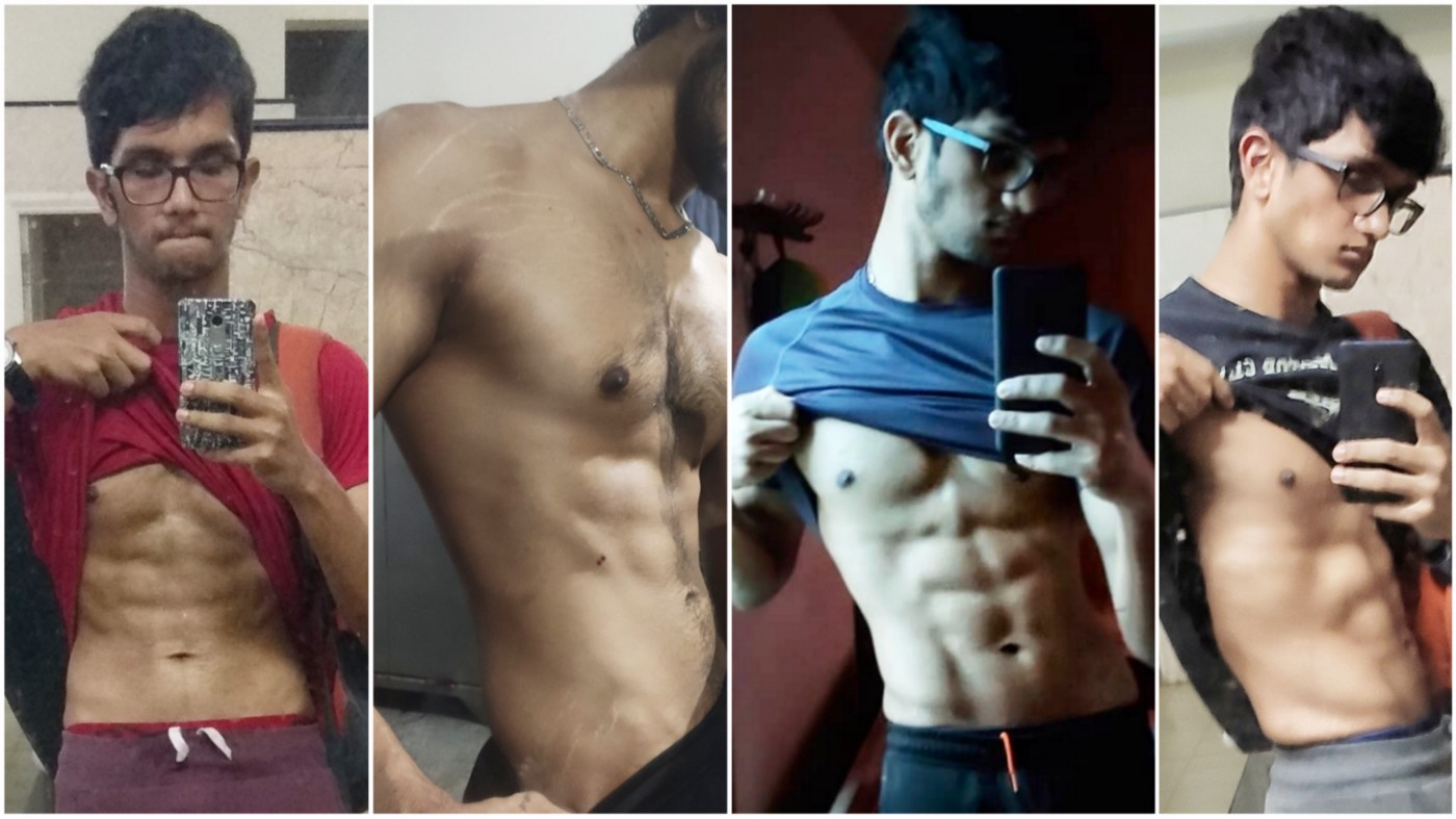 Four photos of the author over time, showing maintenance of his physique.