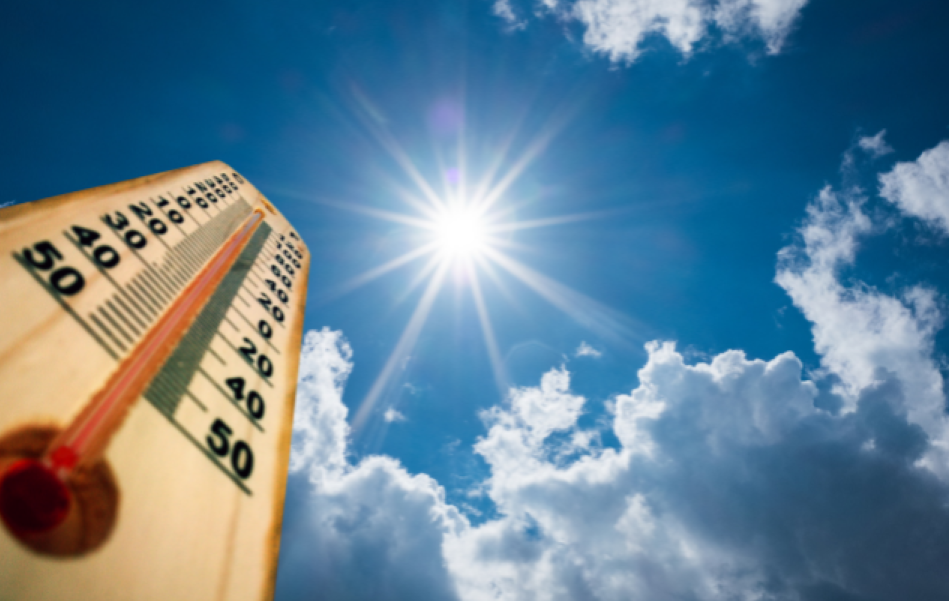 sun shining in bright blue sky with a thermometer reading very high temperatures.