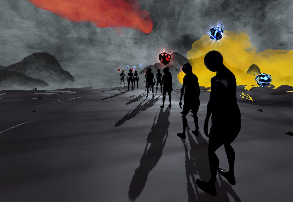 A queue of dejected looking, figures silhouetted against a grey, brooding sky, with floating red, blue and green orbs.