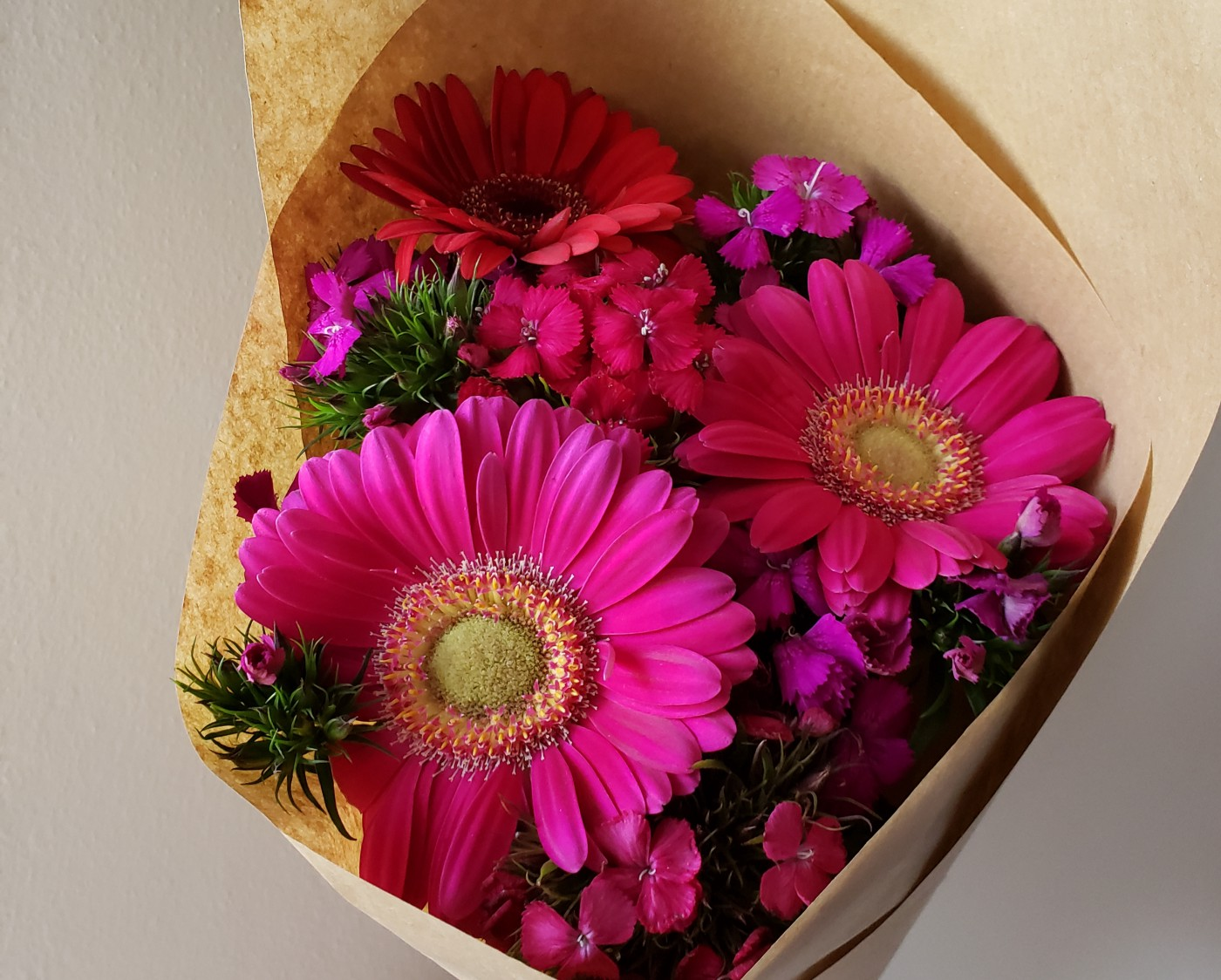 Bouquet of pink flowers.