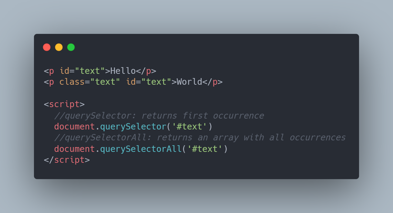 Example: querySelector and querySelectorAll interaction with HTML elements.