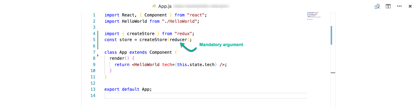 """The reducer is a mandatory argument passed into """"createStore"""""""