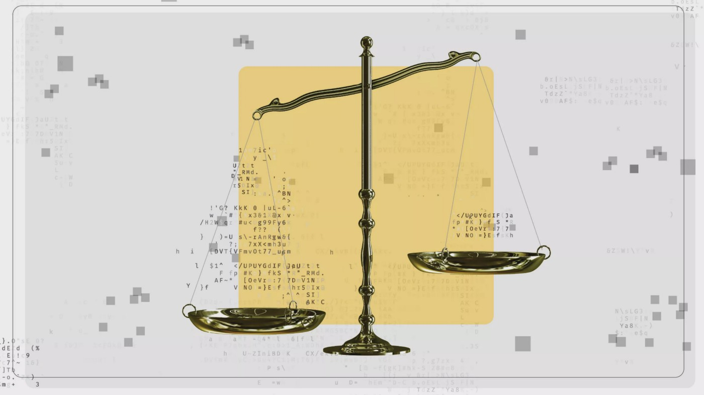 An unbalanced scale is weighed down by code.