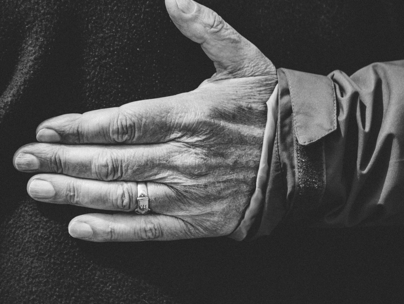 The hand of an elderly person.