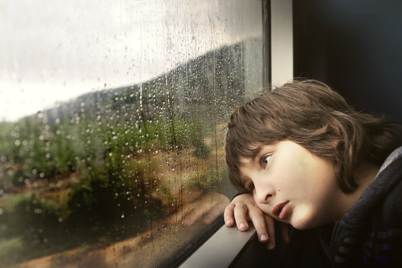 Boy leaning on inside of train window looking bored