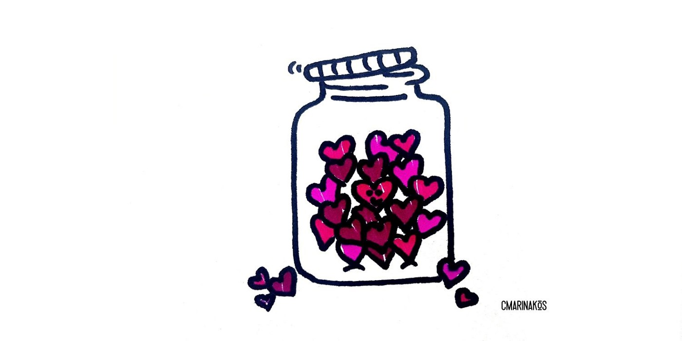 Illustration of a jar with a loose top, pink and red love hearts inside and around the sides.