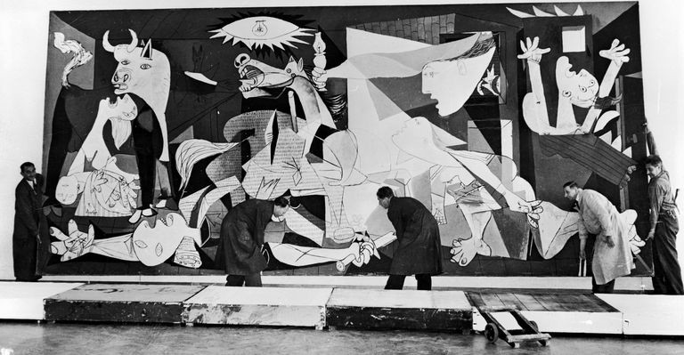 Picasso's Guernica being hung in Amsterdam's Municipal Museum, 1956