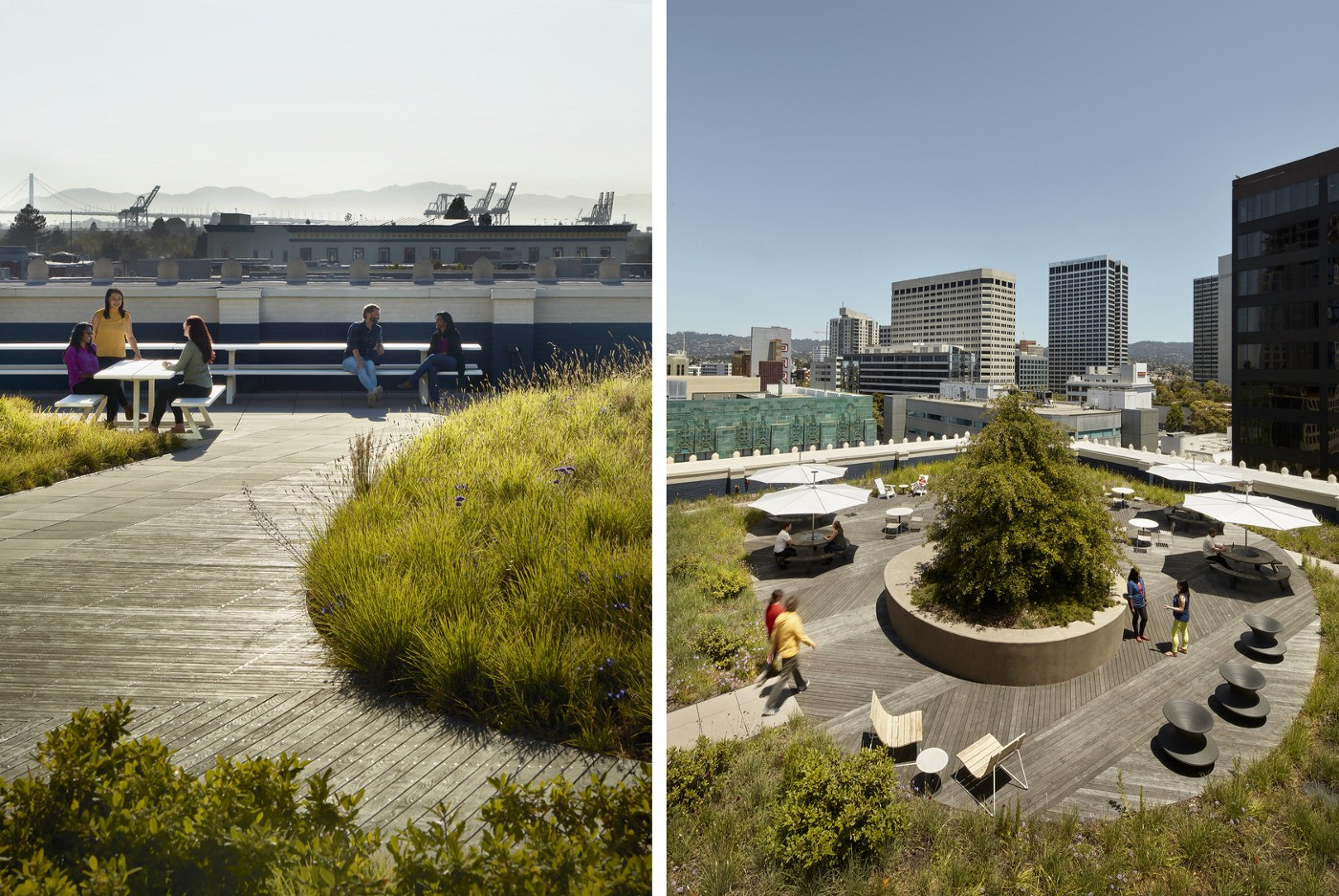 Outdoor terraces features views of the city, hills, and bay.