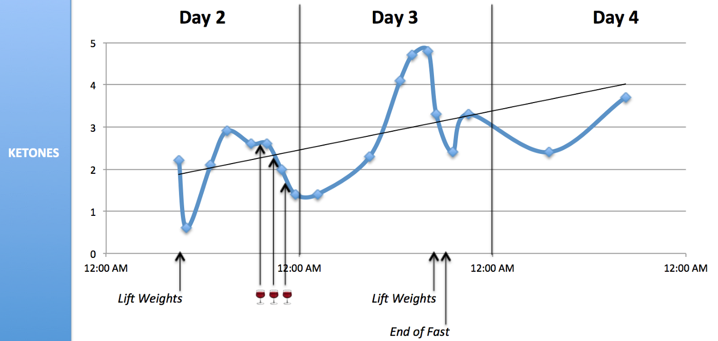Fasting and Ketones: Data from 3 Days with No Food, Only Wine