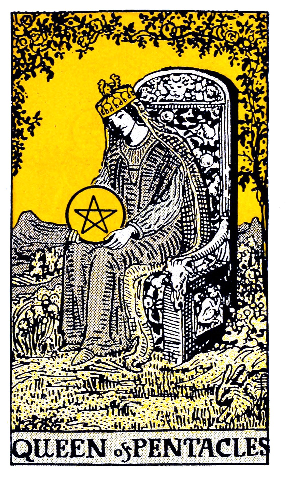 Yellow and black classic tarot illustration of Queen holding pentacle on throne in natural setting with rabbit at her feet.