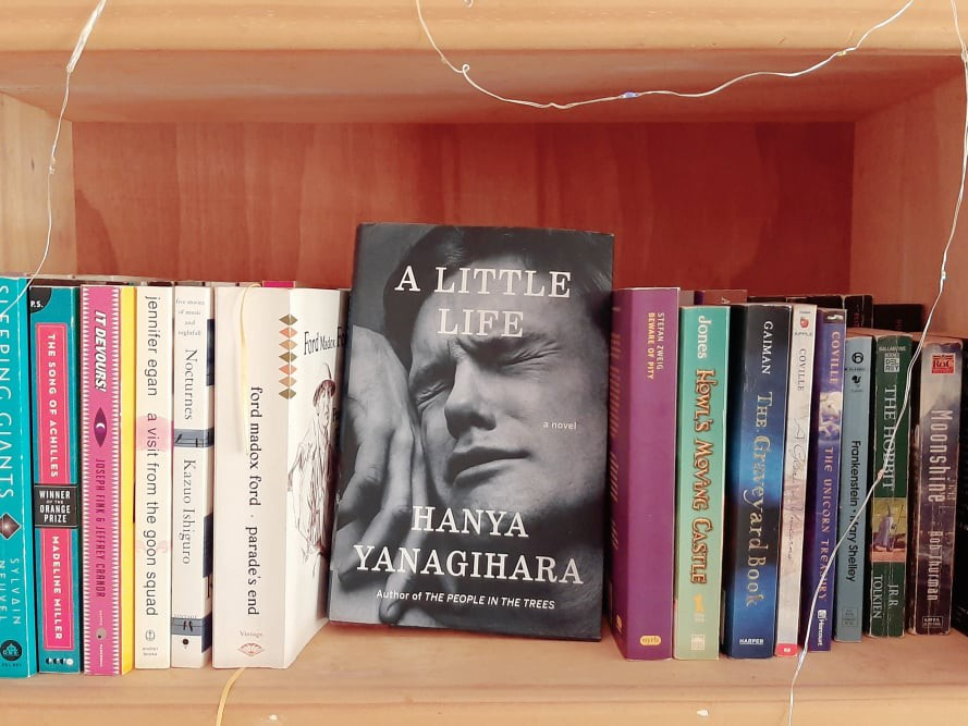 Photo of a bookshelf, with the cover of A Little Life facing forward.