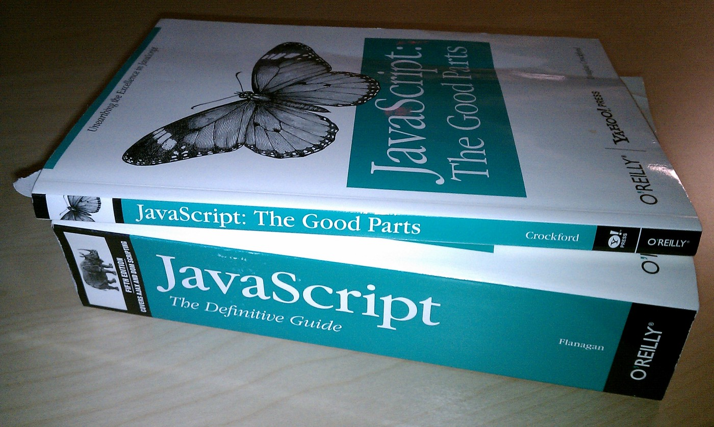 """Two O'Reilly Programming Books- the first is """"JavaScript: The Definitive Guide"""" and is roughly three inches thick; the second is """"JavaScript: The Good Parts"""" and it is only about one inch thick."""