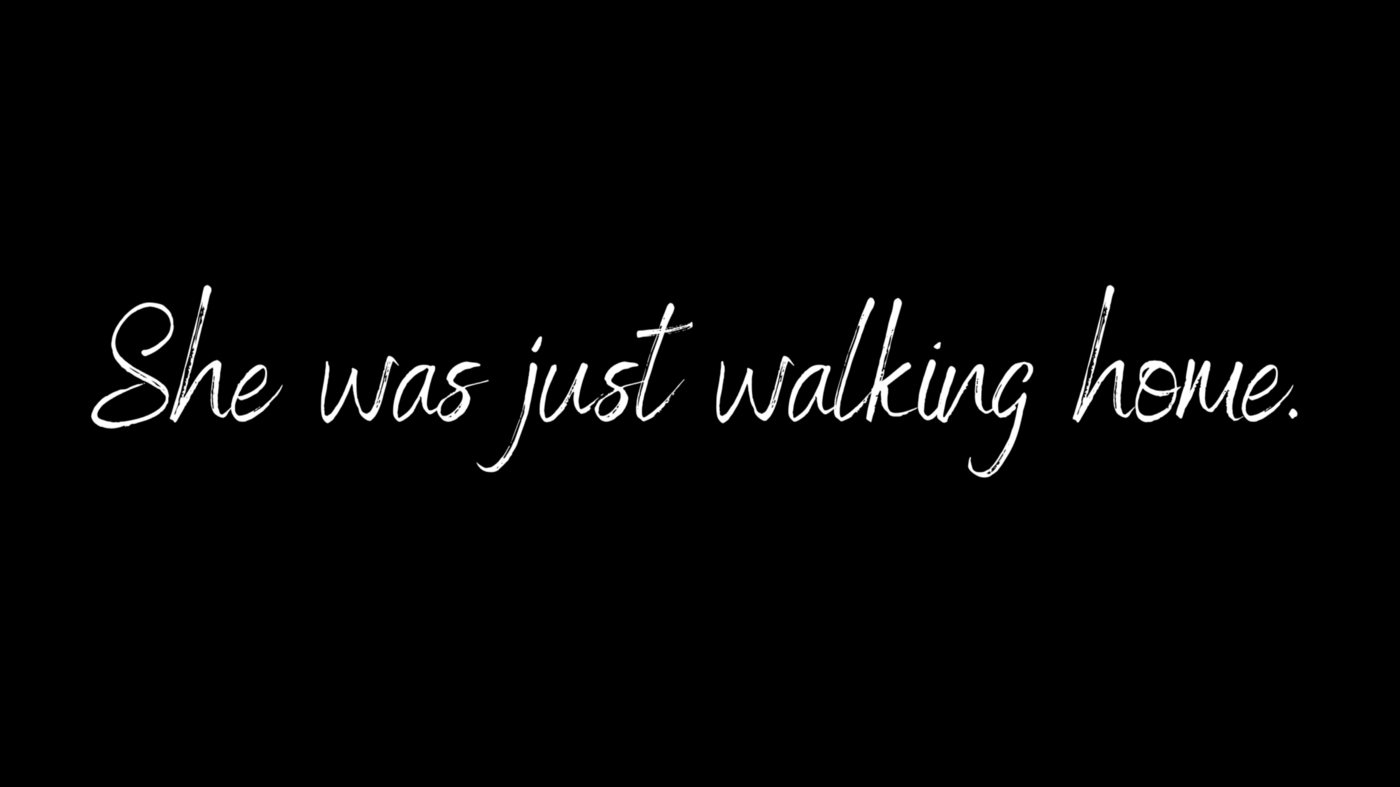 Imagine with texts reading 'she was just walking home'
