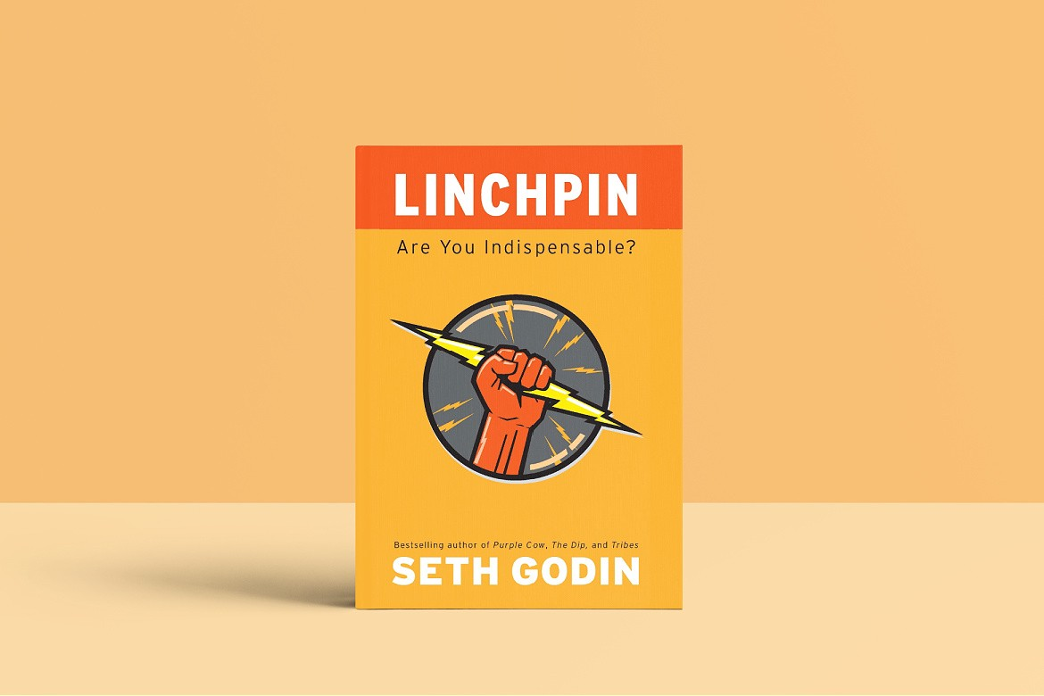 The book cover of Linchpin by SethGodin—an orange fist holding a lightening bolt