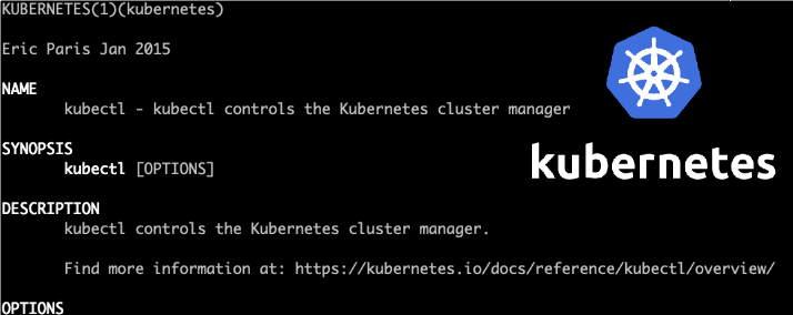 Info on kubectl with the Kubernetes logo.