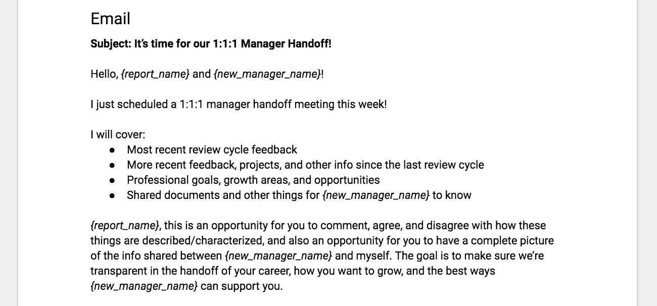 "The ""Manager Handoff"" worksheet - Making Meetup - Medium"