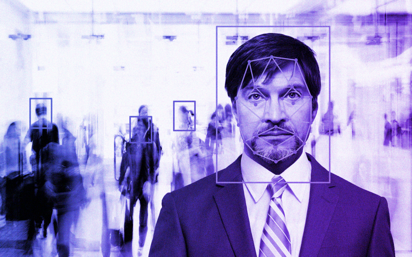 Illustration of facial recognition technology on a man in a suit.