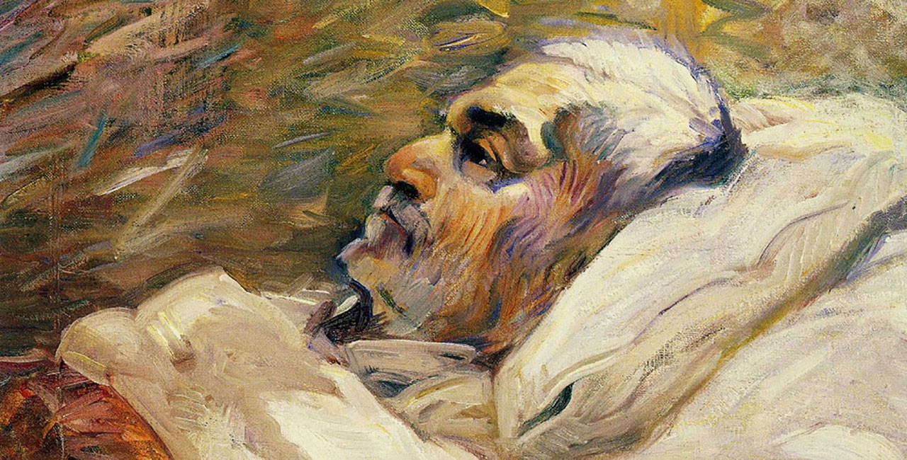 Oil painting of a man with short white hair and beard, seen from the chest up, lying in a bed, propped up on pillows and covered with a blanket