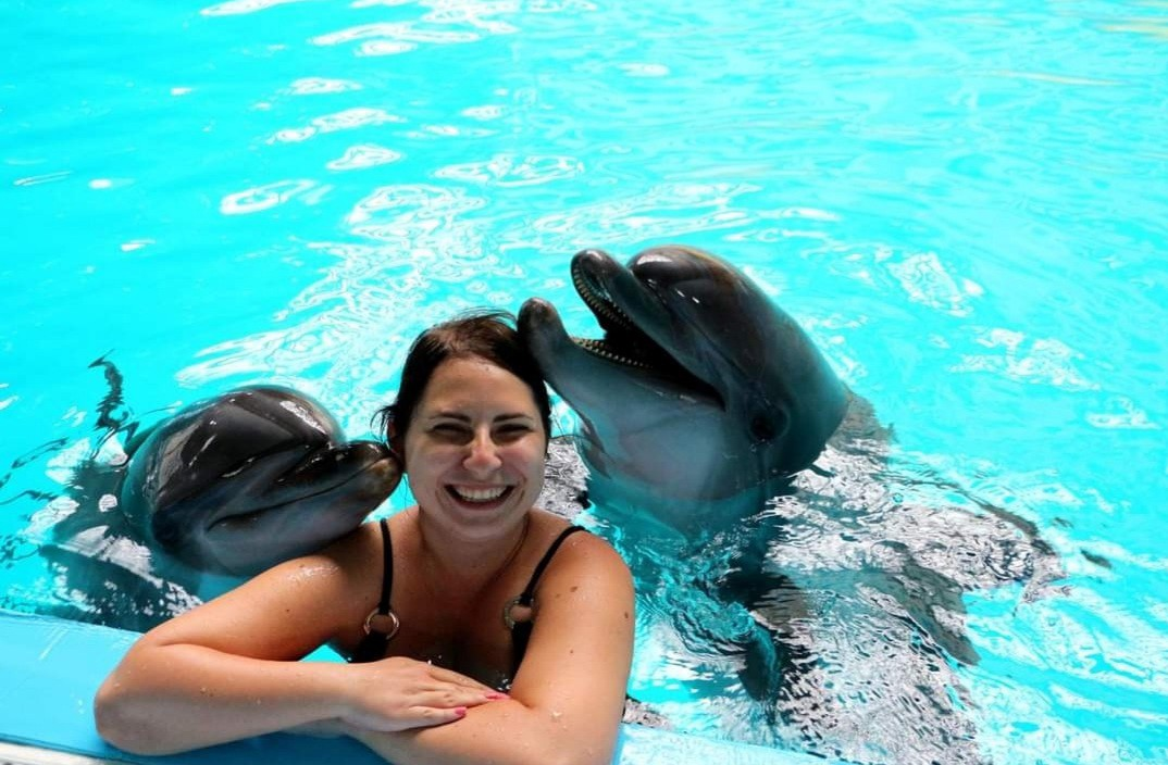 girl swimming with dolphins