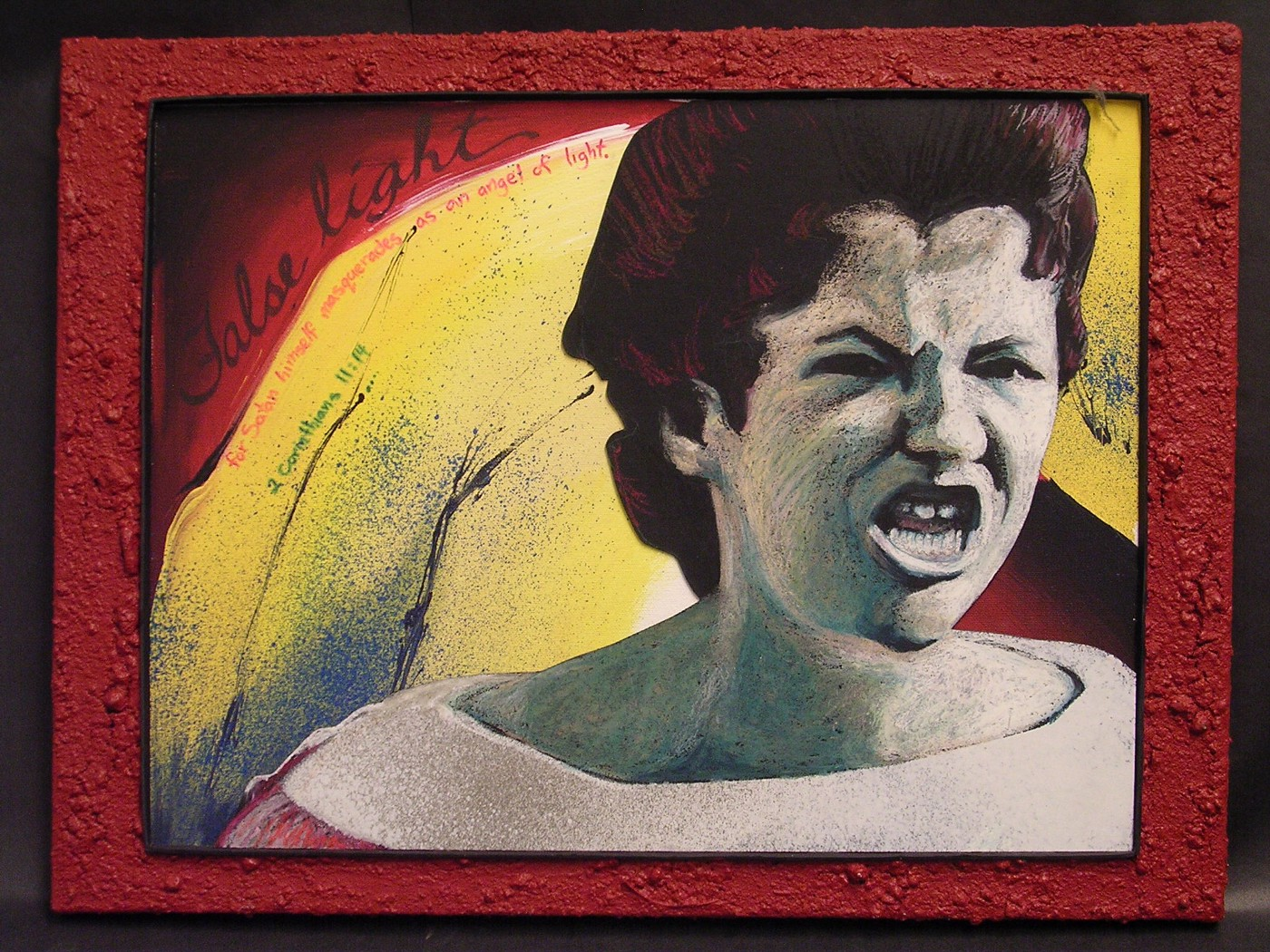 """A harsh color portrait of Hazel Bryan in 1957 as she shouts hateful epithets at Elizabeth Eckford, one of the """"Little House Nine,"""" who attempted to desegregate schools in Arkansas three years after the Supreme Court's 1954 """"Brown v. Board of Education"""" ruling. Hazel's face is contorted with anger and her skin is chalk white against a bright deep red and yellow background within a red frame that has the same rough texture as dredged up topsoil underfoot."""