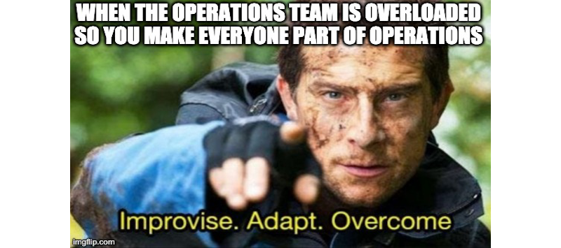 """Image showing Bear Grylls pointing with his finger. Text in the top of the image states """"when the operations team is overloaded so you mak everyone part of you operations team"""". Text in the bottom of the image states """"Improvise. Adapt. Overcome."""""""