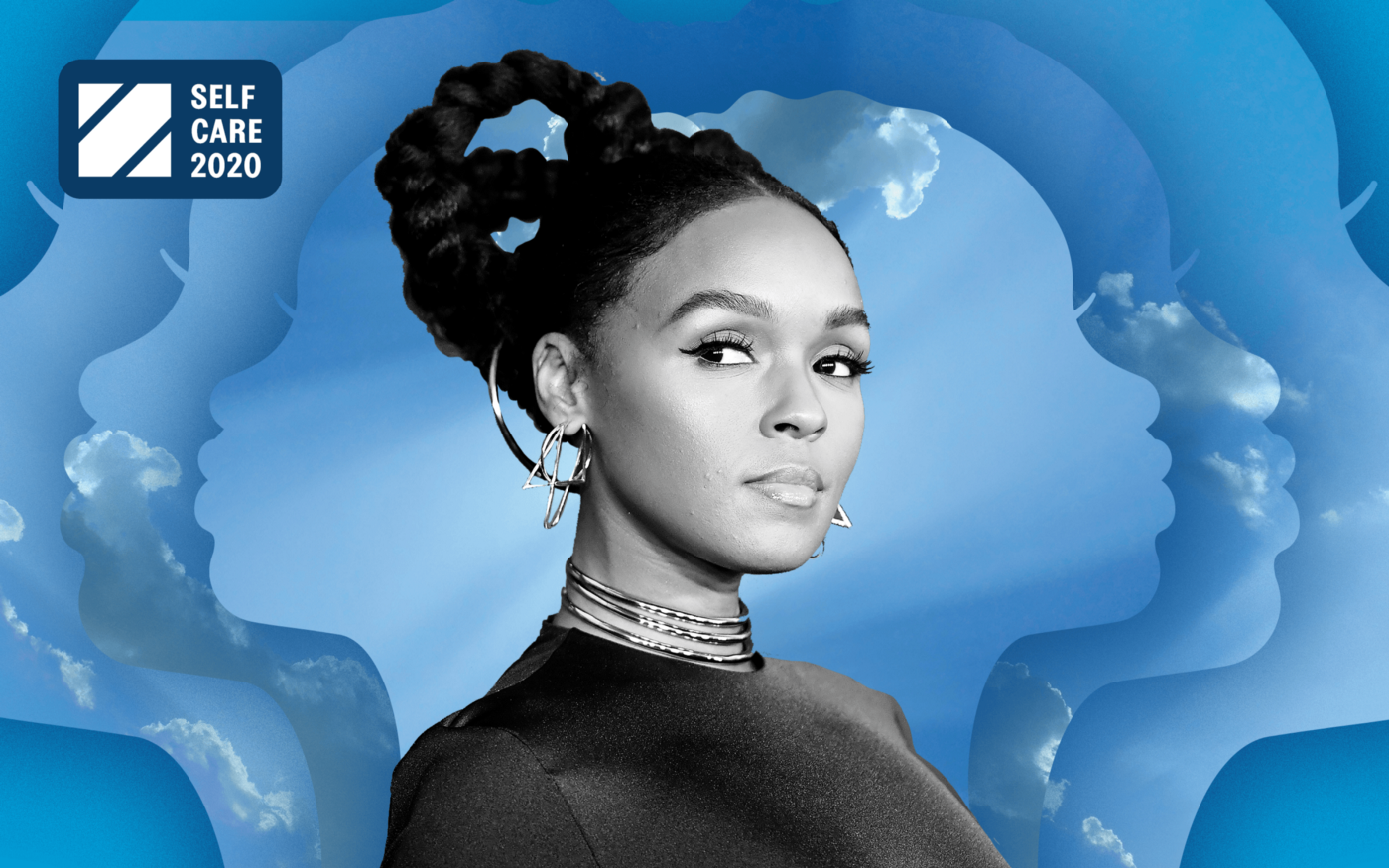 Black and white photo of Janelle Monae against a sky background with concentric silhouette of a woman's face.