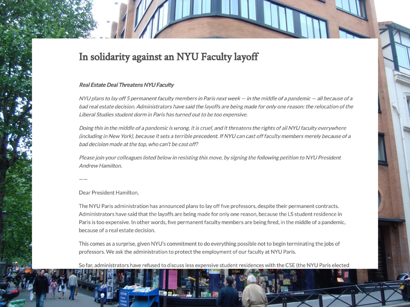 """A screenshot of the """"solidarity against NYU faculty layoff"""" placed over a NYU Paris building."""