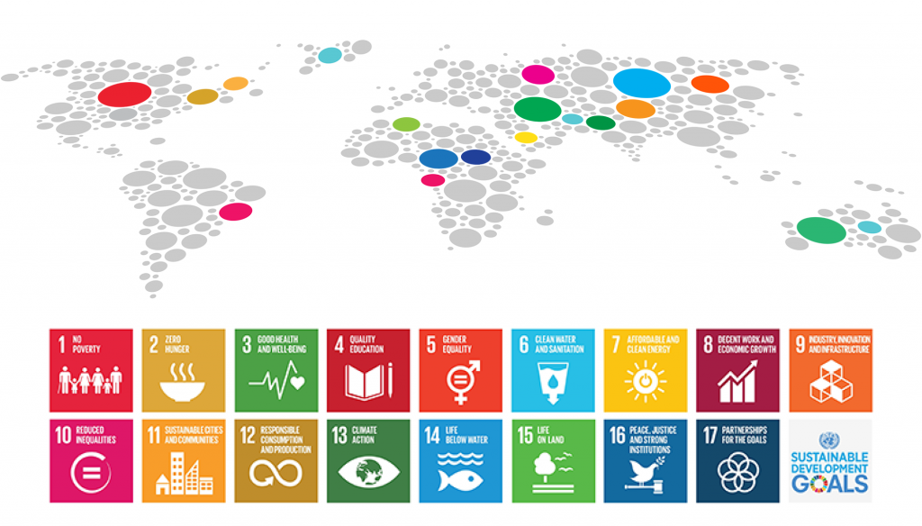 The SDGs with an illustration of a map of the world