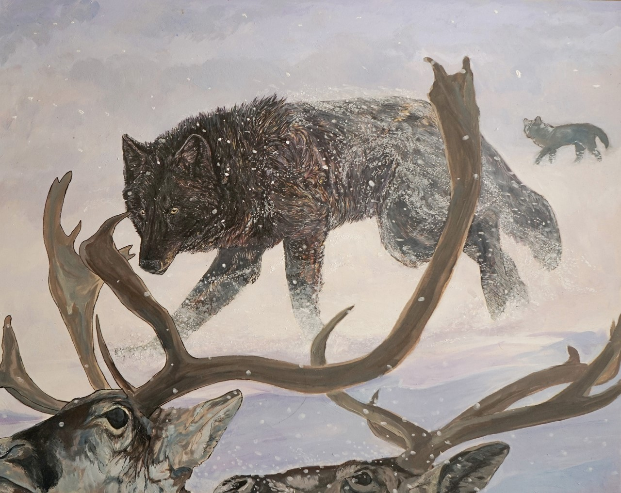 painting of a wolf stalking a caribou