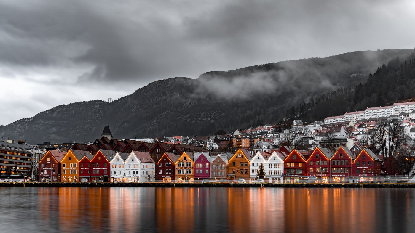A row of Norweigan Homes