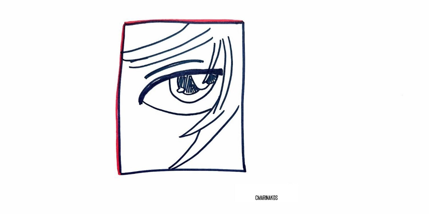 Manga view of one eye and hair, with a contemplative, sad look in the eyes.