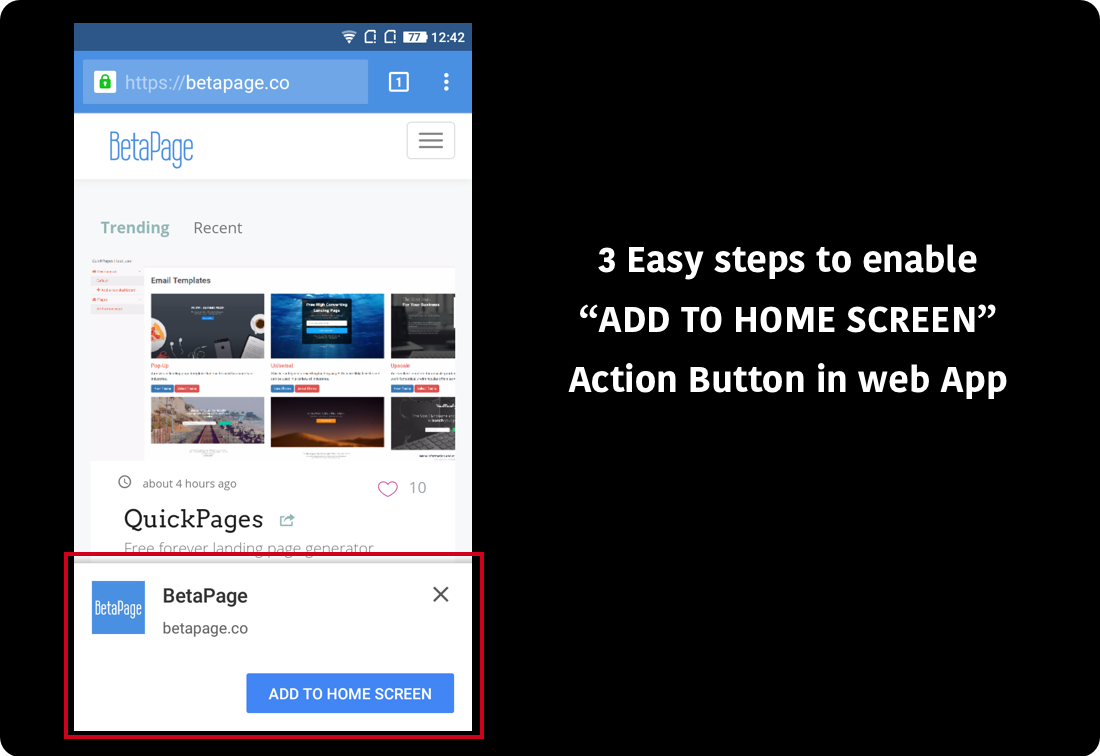 """How to add """"Add to Homescreen"""" popup in web app - BetaPage"""
